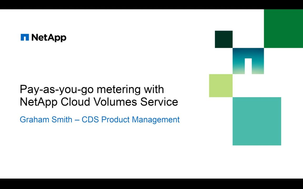Pay-As-You-Go Metering with NetApp Cloud Volumes Service for AWS