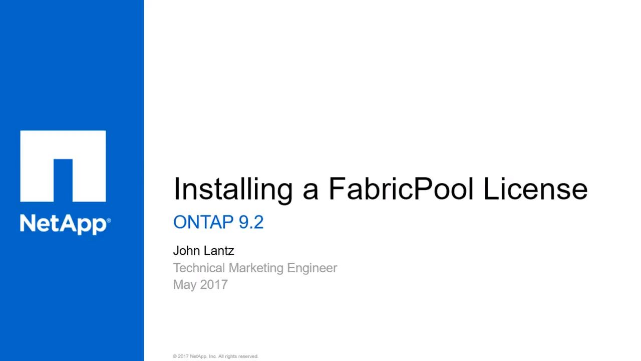 Installing a FabricPool License