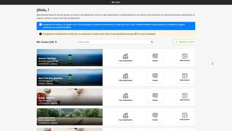 HN MyClub Configuración del menu