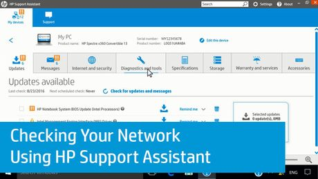 Checking Your Network Using HP Support Assistant