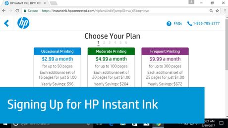 Signing Up for HP Instant Ink