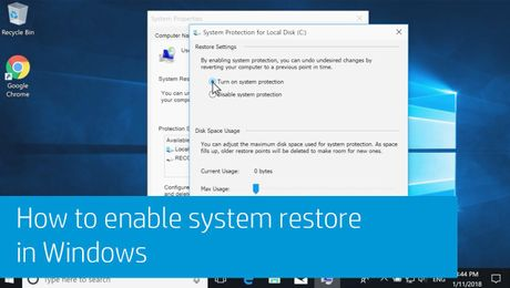 How to enable system restore in Windows