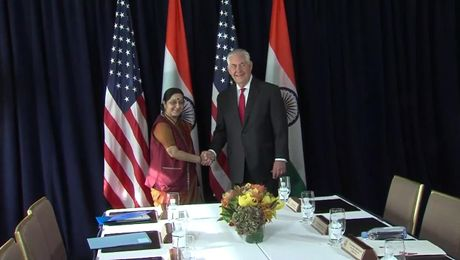 Secretary Tiillerson with Indian External Affairs Minister Swaraj in New York