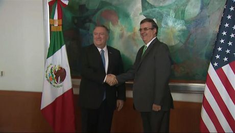 Secretary Pompeo meets with Mexican Foreign Secretary Ebrard.