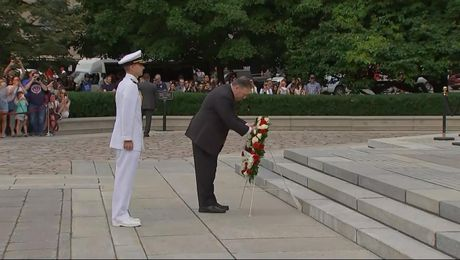 Secretary Pompeo participates in a Wreath Laying Ceremony.