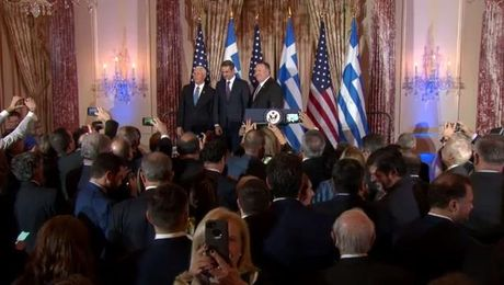 Secretary Pompeo and Vice President Pence host a reception in honor of Greek Prime Minister Mitsotakis.