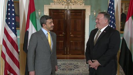Secretary Pompeo camera spray with United Arab Emirates Minister of Foreign Affairs and International Cooperation Sheikh Abdullah bin Zayed Al Nahyan