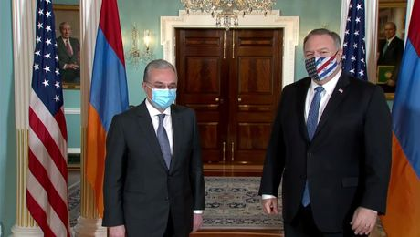 Secretary Pompeo Camera Spray with Armenian Foreign Minister Zohrab Mnatsakanyan