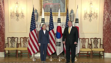 Secretary Pompeo with Korean FM Camera Spray