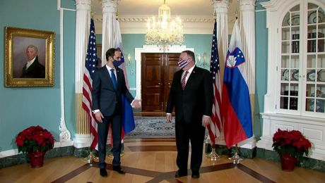 Secretary Pompeo meets with Slovenian Foreign Minister Anze Logar, at the Department of State.