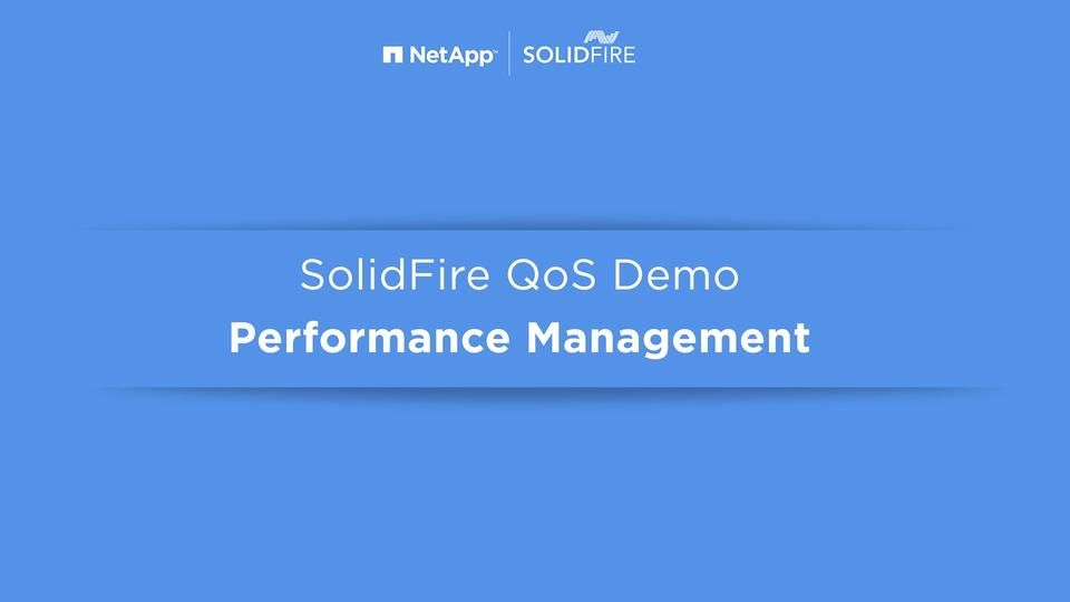 Insight 2016 Demo: Storage Quality of Service (QoS) with SolidFire
