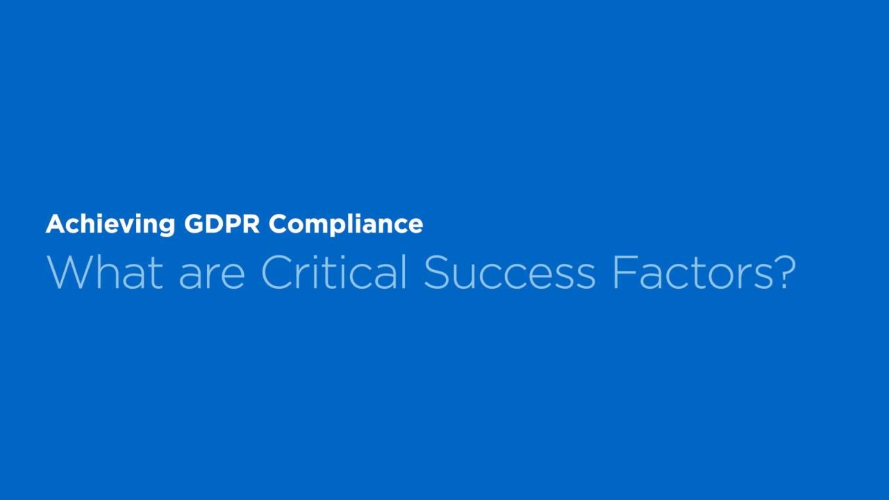 Five Critical Success Factors for GDPR