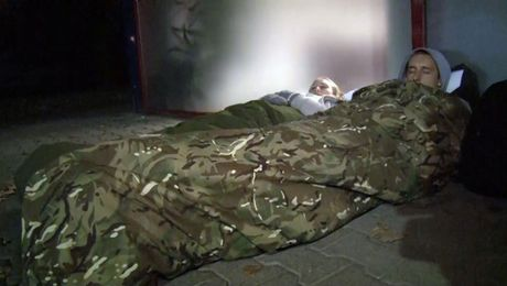 Volunteers Spend Night Sleeping Rough In Support Of Homeless Veterans