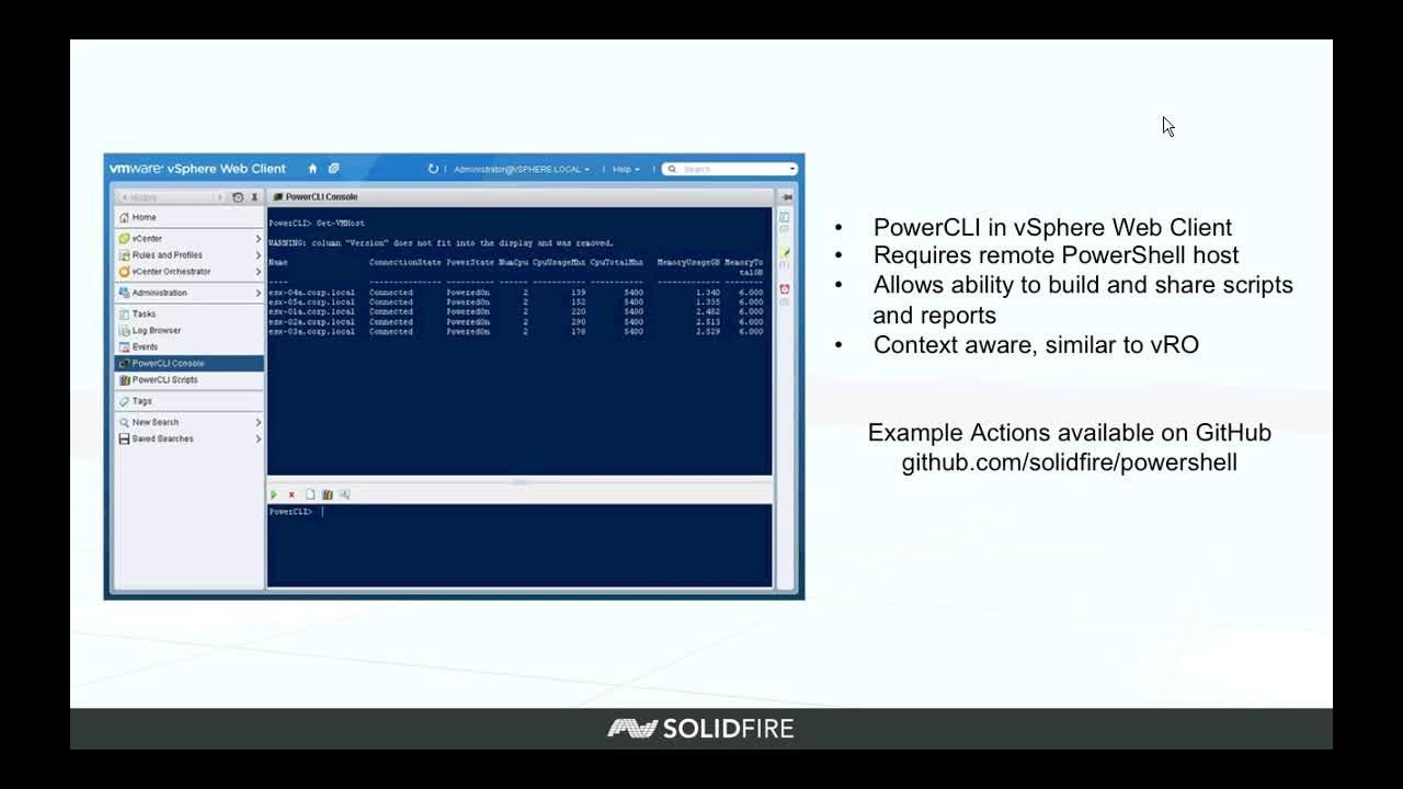 Webinar - Managing SolidFire with PowerShell in a VMware Environment