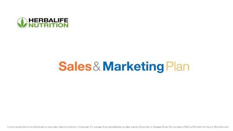 The Herbalife Nutrition Marketing Plan
