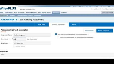 How do I create a reading or resource assignment in WileyPLUS? (Instructor)