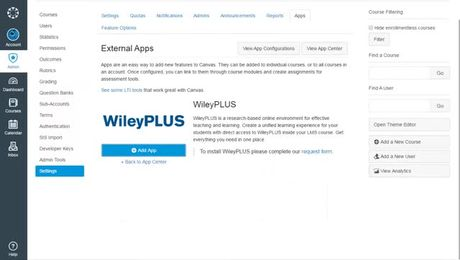 How to install the WileyPLUS app in Canvas (Canvas Admins)