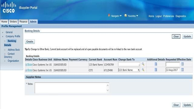 Create New Account & Link to Existing Bank - Supplier Information
