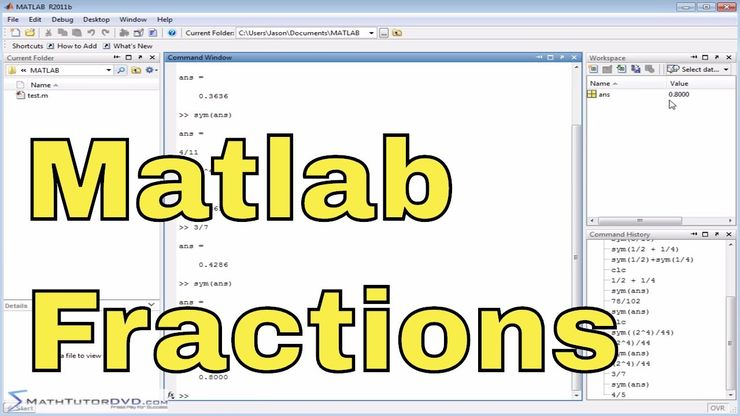 Matlab Online Tutorial - 07 - Working with Fractions and the Symbolic Math  Toolbox - Part 1
