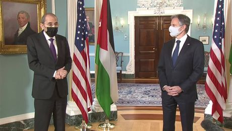 Secretary of State Antony J. Blinken camera spray with Jordanian Foreign Minister Ayman Safadi