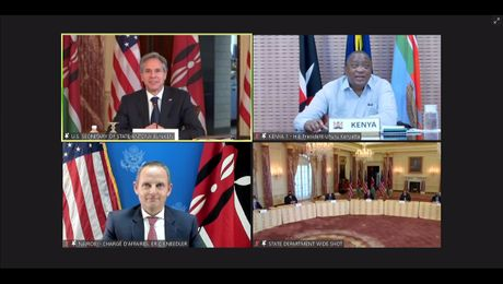 Secretary Blinken's virtual meeting with the President of the Republic of Kenya Kenyatta and Cabinet Secretary for Foreign Affairs Ambassador Omamo,