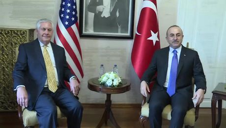 Secretary Tillerson at Camera Spray with Turkish Foreign Minister Cavusoglu