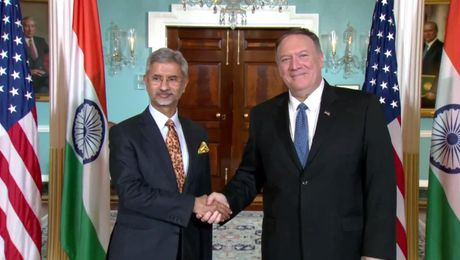 Secretary Pompeo camera spray with Indian External Affairs Minister Subrahmanyam Jaishankar