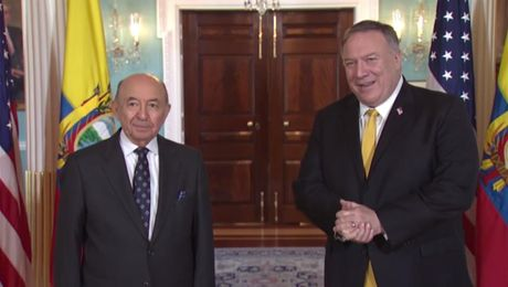 Secretary Pompeo camera spray with Ecuadorian Foreign Minister Gallegos